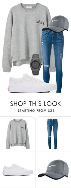 """Gloomy Days."" by annayalee-gerber ❤ liked on Polyvore featuring MANGO, Frame, Vans, NIKE and CC"