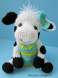 Crochet Pattern Cute Cow by Teri Crews Wool and by WoolandWhims, $4.95