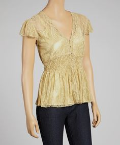 Look at this Beige Sheer Lace Smocked Top on #zulily today!