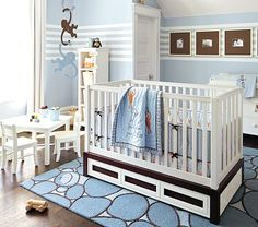 I love the Monkey See, Monkey Do Nursery Set: Crib Fitted Sheet, Toddler Quilt & Crib Skirt on potterybarnkids.com