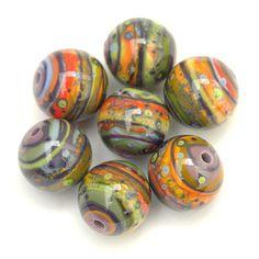 Allspice - Round Lampwork Bead Set in Purple, Green and Orange by Sarah Hornik, $63.00