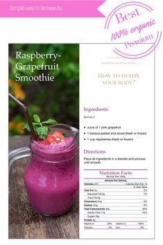 Raspberry - Grapefruit Smoothie recipes to detox by Amrita Luxury Wellness Chiangmai Thailand . Wonderful with 1 sachet herbal mix Easydetox to simple detox drink at home Easy Detox Cleanse, Detox Tips, Healthy Detox, Detox Recipes, Grapefruit Smoothie, Raspberry Smoothie, Green Smoothie Recipes, Raspberry Recipes, Smoothie Detox