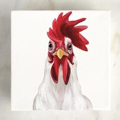 animal paintings I woke up like this, Rooster painting, farmhouse decor, farm life by Sonoranwatercolors Rooster Painting, Rooster Art, Animal Paintings, Animal Drawings, Art Drawings, Chicken Painting, Chicken Art, Farmhouse Paintings, Farm Art