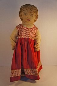"""Antique cloth doll embroidered face 18"""" http://www.dollshopsunited.com/stores/pathatch/items/1270905/Antique-cloth-doll-embroidered-face-18 #dollshopsunited"""