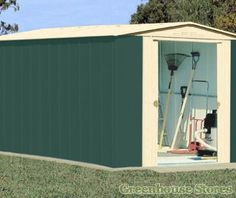 the canberra metal apex shed with double sliding doors is built from green galvanised steel panels around a rigid steel frame