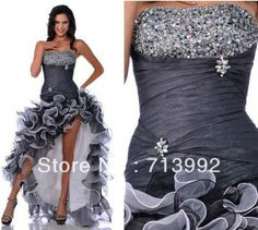 Free Shipping New Arrival Ruffle Beaded organza short front long back Prom Dresses 2013 US $111.25