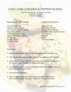 CHILI-LIME CHICKEN & PEPPER FAJITAS Chicken Fajita Casserole, Chili Lime Chicken, Green Bell Peppers, Corn Tortillas, Refried Beans, Chili Powder, Fajitas, Lime Juice, Meal Planning