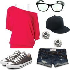 weekend comf, created by jessica-bergstrom on Polyvore I'd wear this if the shorts were longer (: