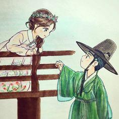 Drama Moonlight drawn by clouds Cute Couple Art, Anime Love Couple, Cool Art Drawings, Cartoon Drawings, Korean Art, Korean Drama, Love In The Moonlight Kdrama, Korean Illustration, Anime Korea