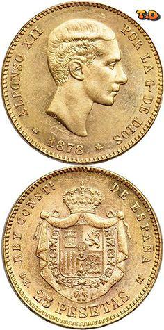 N♡T. 25 Peseta Kingdom of Spain (1874 - 1931) Gold Alfonso XII of Spain
