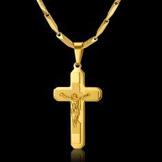 2 Uso Creativo de la Cadena de Oro Masculina Collar de Los Hombres de La Joyería de Cumpleaños Regalos Al Por Mayor, Jesus Cruz Colgante De Collar de Color Oro antiguo