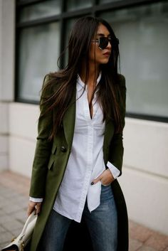 Love the color of the long coat...I'm always trying to find a white shirt that fits my frame. 2017 fall fashions trend inspirations for work 27