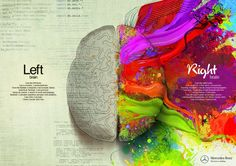 This is such a neat visual of the difference between Left and Right brain. Unfortunately my left and right brain don't speak. Left Brain Right Brain, Your Brain, Brain Painting, Mercedes Benz, Web Design, Creative Design, Creative Ideas, Print Design, Logo Design