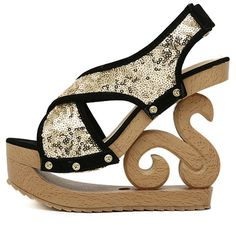 Cross Strap Cork Special Shaped Heel Sequins Silver Sandals