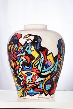 JAMAICA piantana per lampada in ceramica,decorato a mano,decoro originale.Pezzo unico.Made in Italy
