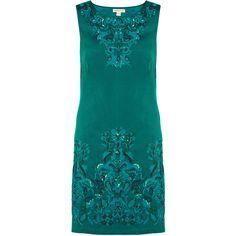 Monsoon Maya Embellished Dress (1,315 EGP) ❤ liked on Polyvore featuring dresses, teal, embellished cocktail dress, teal blue dresses, blue cocktail dresses, beaded dresses and embroidered dress