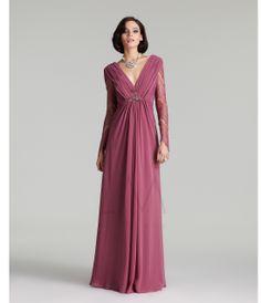 LM Fall Collection 2013- Dusty Mauve Lace Sleeved V-Neck Gown - Unique Vintage - Prom dresses, retro dresses, retro swimsuits.