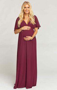 4226fdbc5dd Show Me Your Mumu Emily Maxi Dress ~ Merlot Chiffon Maternity Wedding  Guests