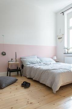 eine rosa wand fur das schlafzimmer neue bettwasche aus leinen
