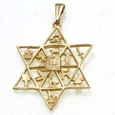 14k Yellow Gold Star of David 12 Tribes Pendant Large
