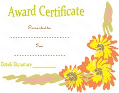 The Floral Award Certificate Template