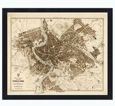 Old Map City Plan of Rome Roma, Italia 1892 Antique Vintage Italy