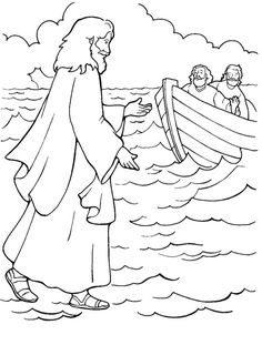One of Miracles of Jesus is Walking on Water Coloring Page