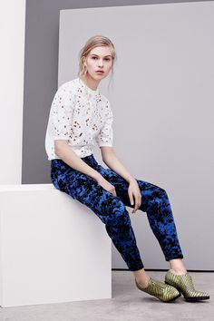 Tablecloth lace top with blue and black patterned pant make casual Friday a noted success without losing any of the ease.  Rebecca Taylor | Pre-Fall 2014 Collection | Style.com