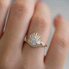 Vintage Art Deco Ring - Baguette Crown Cluster Engagement Ring Up Close deco engagement ring deco jewelry jewelry jewelry diy jewelry jewelry vintage jewelry jewelry diy jewelry jewelry jewelry jewelry wrapped jewelry Anel Art Deco, Bijoux Art Deco, Art Deco Jewelry, Fine Jewelry, Jewelry Design, Jewellery Box, Jewelry Ideas, Jewellery Shops, Vintage Jewellery