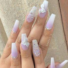 """May 2020 - Explore weddingsonlyin's board """"Bridal Nail Art Designs Pink Ombre Nails, Purple Nail, Summer Acrylic Nails, Cute Acrylic Nails, Acrylic Nail Designs, Gel Nails, 3d Nail Designs, Coffin Nails, Summer Nails"""