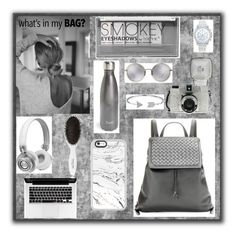 """""""Silver & gray back to school backpack"""" by shaes-neutral ❤ liked on Polyvore featuring Bottega Veneta, Boohoo, S'well, Linda Farrow, Lane Bryant, Casetify, Master & Dynamic, Leonor Greyl, Bling Jewelry and backpack"""