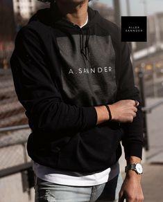 A.SANNDER | MENS BASIC HOODIE BLACK  Modern A.SANNDER BLACK PRINT.   • Hoodie made from 100% Californian fleece cotton  • Hooded with matching finished polyester drawcord  • Raglan sleeves  • Kangaroo pocket  • Made in the USA  • Sweatshop free   Style #: 112-001-999 Basic Hoodie, Black Print, Black Hoodie, Kangaroo, Hoods, Men's Fashion, Pocket, Usa, Sweatshirts