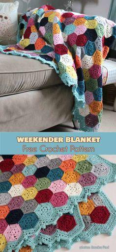 Weekender Blanket Throw Free Crochet Pattern #freecrochetpatterns #crochetblanket