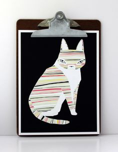 Neon Striped Cat | Gingiber via Etsy