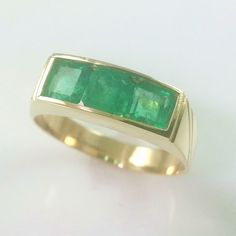 1.0CT MENS 18K GOLD EMERALD BAND * GENUINE COLOMBIAN EMERALDS 18K GOLD RING #emerald #ring