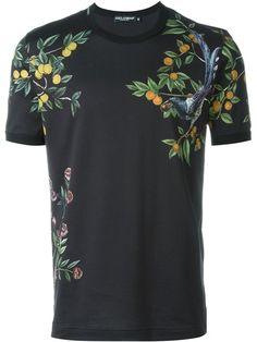 DOLCE & GABBANA Citrus Tree And Bird Print T-Shirt. #dolcegabbana #cloth #t-shirt