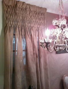 i love these smocked burlap curtains