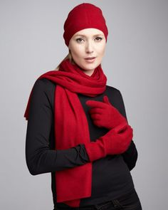 Slouchy Cashmere Hat, Gloves & Scarf, Red by Sofia Cashmere at Neiman Marcus.