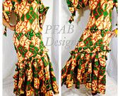 African Clothing, African Dress, African Fabric, The African Shop, Kente, Holland Wax, Authentic Vlisco Holland Wax 2 Piece Suit,US 14/16