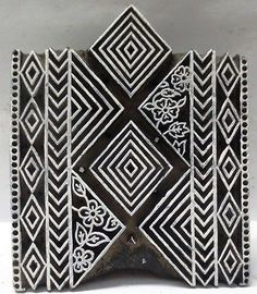 Indian Wooden Hand Carved Textile Printing on Fabric Block Stamp Ethnic Design | eBay