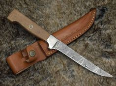 Custom Handmade Damascus Steel Fillet Knife With Leather Sheath Leopard Wood, Fish Knife, Fillet Knife, Damascus Steel, Edc Knife, Handmade Knives, Custom Knives, Stitching Leather, Knife Making