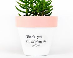 Modern personalized eco-friendly plant pots & by ChickadeePots Thank You Teacher Gifts, Best Teacher Gifts, Teacher Christmas Gifts, Teacher Appreciation Gifts, Plant Pots, Succulent Pots, Planting Succulents, Potted Plants, Help Me Grow
