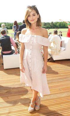 Jenna Coleman - Inspiration for our Oatlmeal Off Shoulder Button-Down Dress