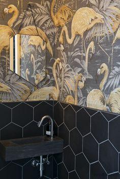 Downstairs toilet ideas small wallpaper toilet ideas small wallpaper paints in the toilets. Paper paints Mauritius - Pierre Frey - Au fil d .Paper paints in the toilets. Wallpaper Toilet, Bathroom Wallpaper, Flamingo Wallpaper, Small Toilet Room, Guest Toilet, Bathroom Design Small, Bathroom Interior Design, Bathroom Modern, Interior Livingroom