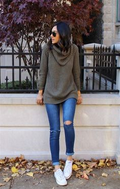 40+ Cute Sweater and Jeans Outfits for Women. White converse ... 5a7692510