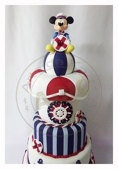 mickey mouse cake on disney cruise Mickey And Minnie Cake, Bolo Mickey, Mickey E Minie, Mickey Cakes, Mickey Party, Nautical Mickey, Nautical Cake, Nautical Theme, Disney Parties