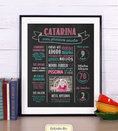 Poster Lousa Aniversário - poster, lousa, chalkboard, aniversário, criança, 1 ano, primeiro aninho, 1 aninho, smash the cake