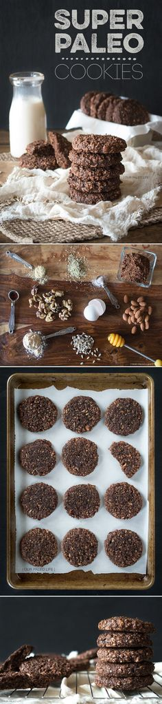 """Grain free cookies Super Paleo Cookies """" chocolatey, crunchy, chewy, packed with good, energy boosting ingredients #paleo #chocolate"""" """"1/4 cup Coconut Flour 4 Large Eggs 8 Medjool Dates (or 18 Deglet Noor Dates), pitted 1/4 cup Honey 1/2 cup Raw Almonds 1/4 cup Walnuts 1/2 cup Hemp Seeds 1/2 cup Sunflower Seeds 1/2 tsp Sea Salt 1 tsp Pure Vanilla Extract 1 tsp Ground Ginger 3 Tbsp Cocoa Powder"""""""