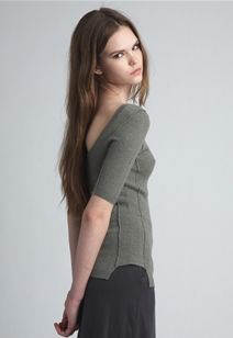 Inhabitnyc scoopback spring-wt cashmere pointelle sweater