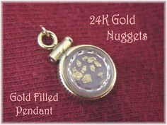 24K Pure Gold Nuggets Encased  in 12K Gold Filled Pendant Window Locket ~ Natural Gold Flakes & Nugget Pendant - Gold Prospecting Bullion by FindMeTreasures on Etsy